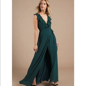 Tobi Treasure Me Emerald Ruffle Maxi Dress